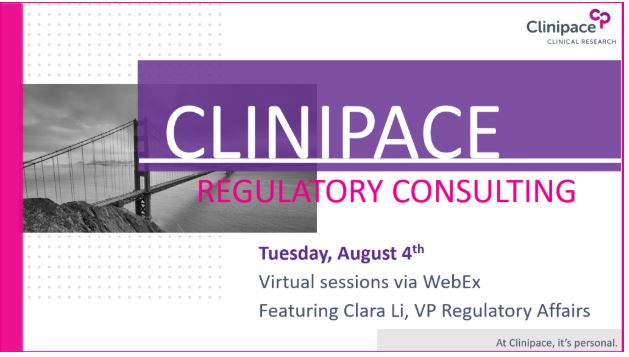 Clinipace Complimentary Regulatory Consulting Tuesday